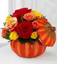 The Bountiful Pumpkin Red Rose Bouquet