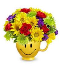 Smiley Mug Bouquet (Yellow, Red, Green, & Purple)