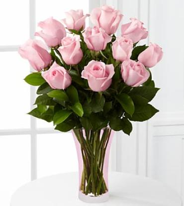 One Dozen Long Stem Pink Rose Bouquet