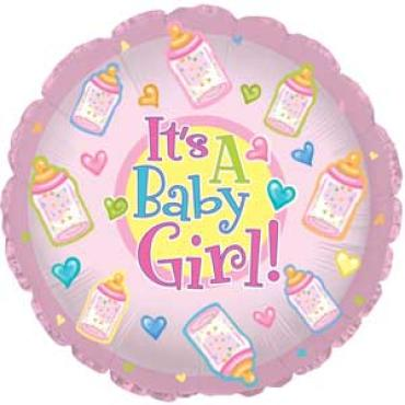 "It\'s a Baby Girl Mylar Airfill 7"" Stick in Balloon"