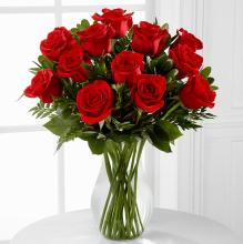 One Dozen Long Stem Red Rose Bouquet