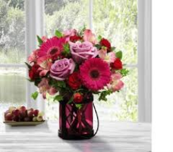 FTD Pink Exuberance Bouquet With Keepsake Candle Holder