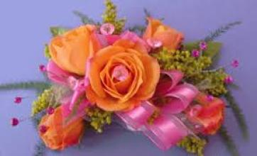 Orange Sweetheart Roses with Pink Accents Wrist Corsage