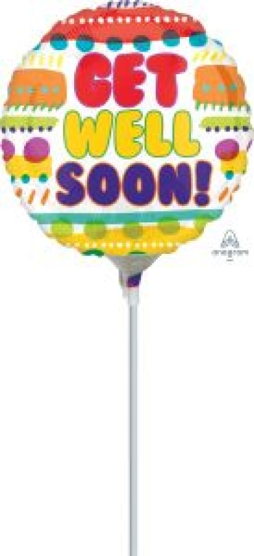 "Get Well Soon Mylar Airfill 7"" Stick in Balloon"
