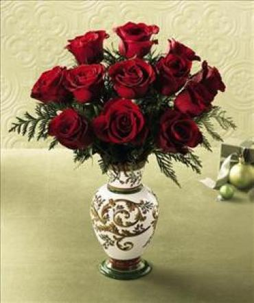 One Dozen Roses in a Laura Ashley Vase